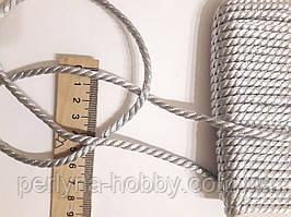 Шнур текстильный декоративный, Шнур текстильний  люрексовий 3,5 мм.  Срібло. Ціна за 1 метр.