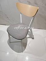 Стул Модерн  Белый + Бук с Серым мягким сидением, фото 1