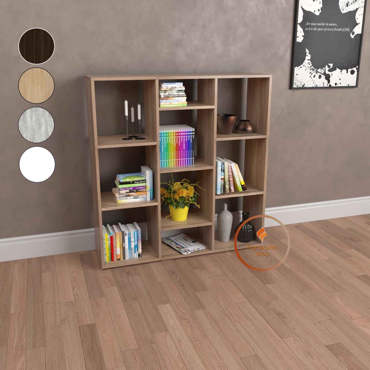 Стеллаж для дома полка для книг этажерка для игрушек на 10 ячеек из ДСП. Код: P0031