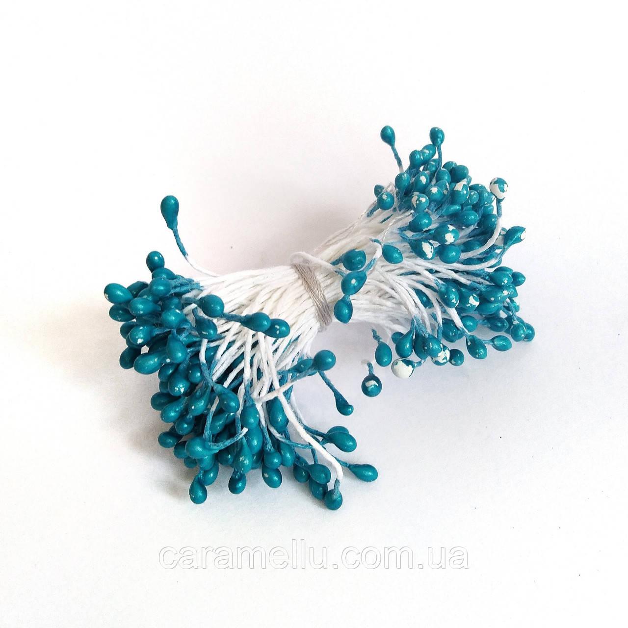 Тычинки глянцевые на нитке 100 штук(200 головок). Цвет  ярко-голубой
