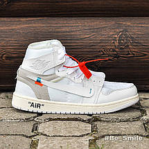 Кроссовки мужские Nike Air JORDAN 1 off-white (белые) Top replic, фото 3