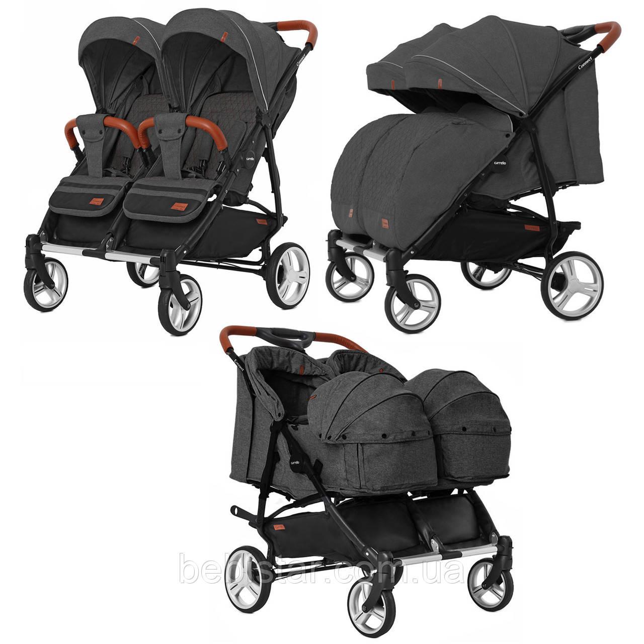 Коляска прогулочная для двойни черная с люлькой CARRELLO Connect CRL-5502/1 Serious Black деткам с рождения