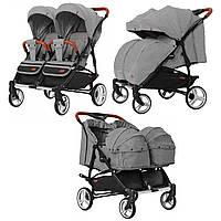 Коляска прогулочная для двойни темно-серая с люлькой CARRELLO Connect CRL-5502/1 Ink Gray деткам с рождения