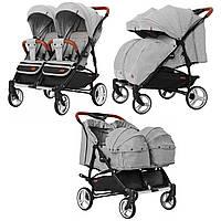 Коляска прогулочная для двойни серая с люлькой CARRELLO Connect CRL-5502/1Rock Gray деткам с рождения