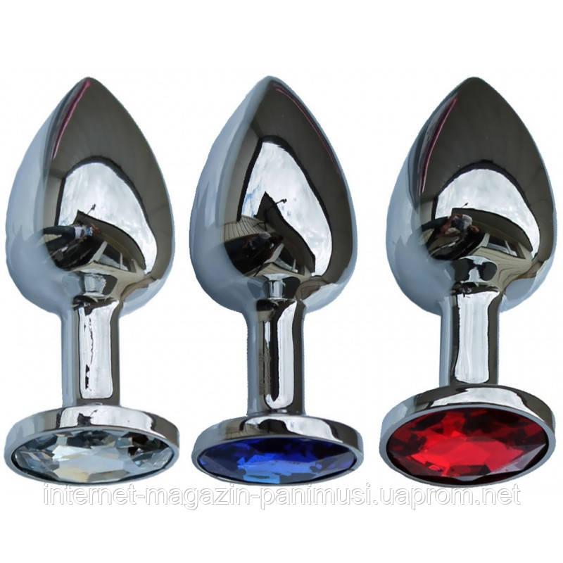 Анальная пробка SILVER DIAMONDS  LIGHT длина 7,2см на 2,7см инкрустирована камнями