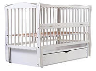 Детская кроватка Дубик-М Элит Белая, маятник, ящик, откидной бок