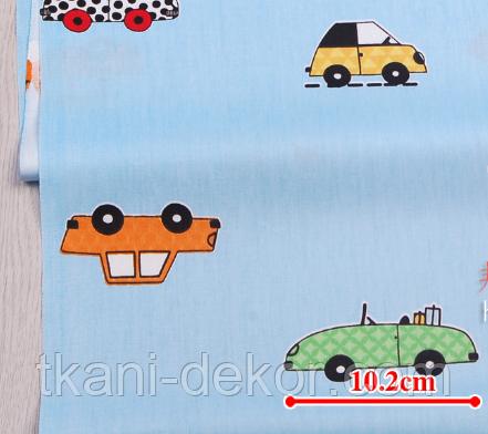 Сатин (хлопковая ткань) на голубом машинки цветные (60*160)