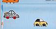 Сатин (хлопковая ткань) на голубом машинки цветные (60*160), фото 2