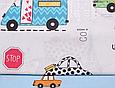 Сатин (хлопковая ткань) на голубом машинки цветные (60*160), фото 3