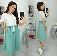 Платье свободного кроя двухцветное женское НОРМА (ПОШТУЧНО)