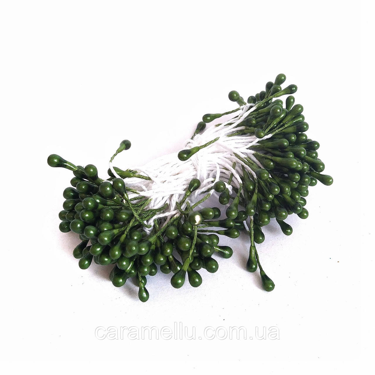 Тычинки глянцевые на нитке 100 штук(200 головок). Цвет  темно-зеленый