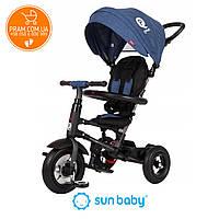Трехколесный велосипед с родительской ручкой Sun Baby QPlay Rito Air Blue Синий, фото 1