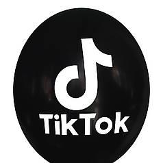 """0393 Шар 12"""" (30 см) TikTok / ТикТок на черном (Kalisan)"""