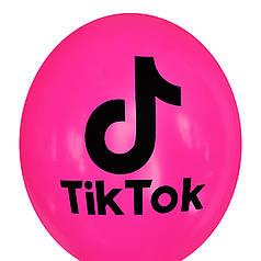 """0394 Шар 12"""" (30 см) TikTok / ТикТок на фуксии (Kalisan)"""