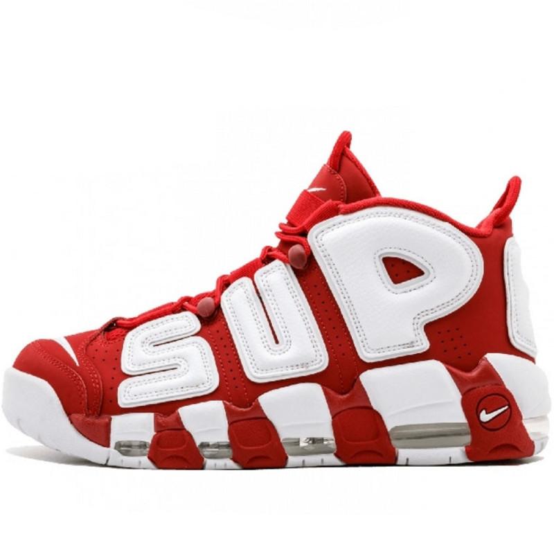 Кроссовки женские Nike Air More Uptempo Supreme  (красные-белые) Top replic