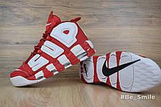 Кроссовки женские Nike Air More Uptempo Supreme  (красные-белые) Top replic, фото 3