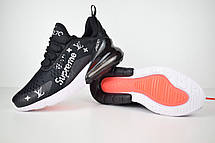 Кроссовки женские Nike Air Max 270 x Supreme x LV  (черные) Top replic, фото 2
