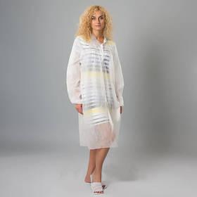 L/XL белый халат на кнопках Polix PRO&MED из спанбонда, 25 г/м2