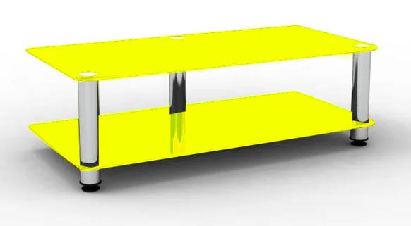 Тумба под TV Sentenzo Дуэт 1000х400х330мм ножки-хром полочки-желтое стекло