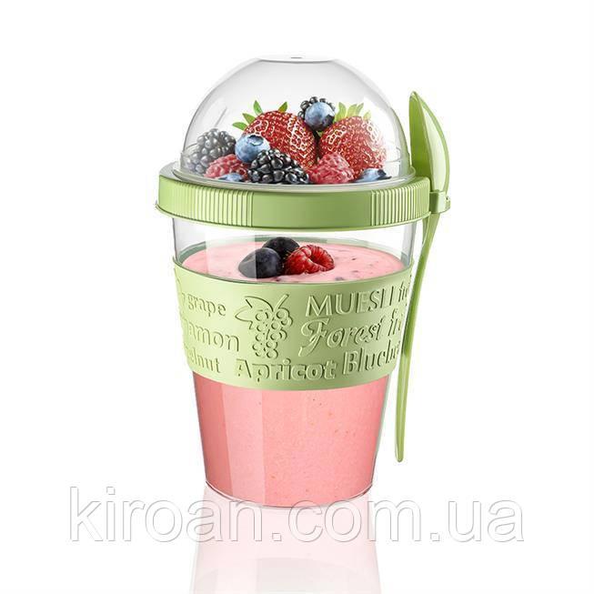 Стакан с ложкой для еды, йогурта,ягод и пр Турция Titiz, 111x164 mm (600 мл)