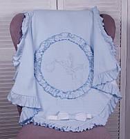 Летний конверт-плед «Нежность» на выписку для новорожденных. Голубой