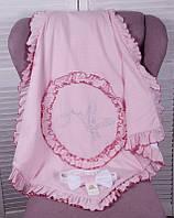 Летний конверт-плед «Нежность» на выписку для новорожденных. Розовый