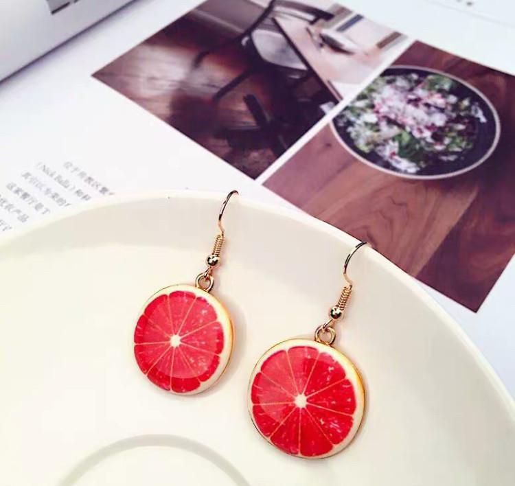 """Яркие серьги/сережки летние, в виде фрукта грейпфрут  """"Grapefruit"""" (красный)"""