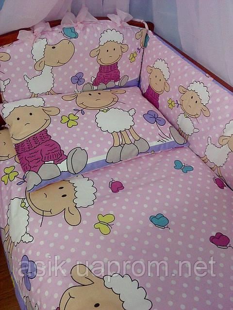 """Комплект постели в кроватку из 8-ед. розово-сиреневого цвета """"овечки на лужайке"""" №152 - Интернет-магазин детской постели «ASIK» в Волынской области"""