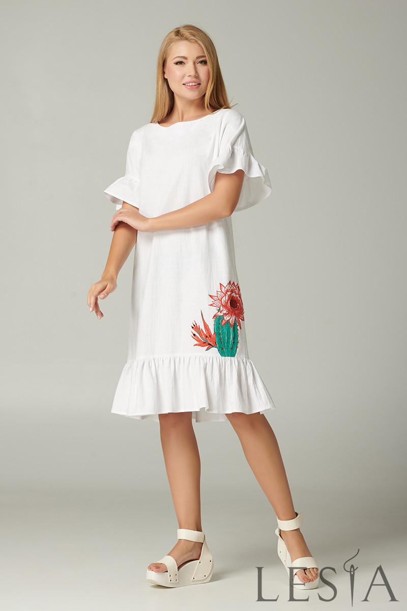 Оригинальное летнее белое платье с оборками и вышивкой Lesya Дейси