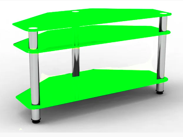 Тумба под TV Sentenzo Бристоль 1100х400х550 мм ножки-хром полочки-зеленое стекло