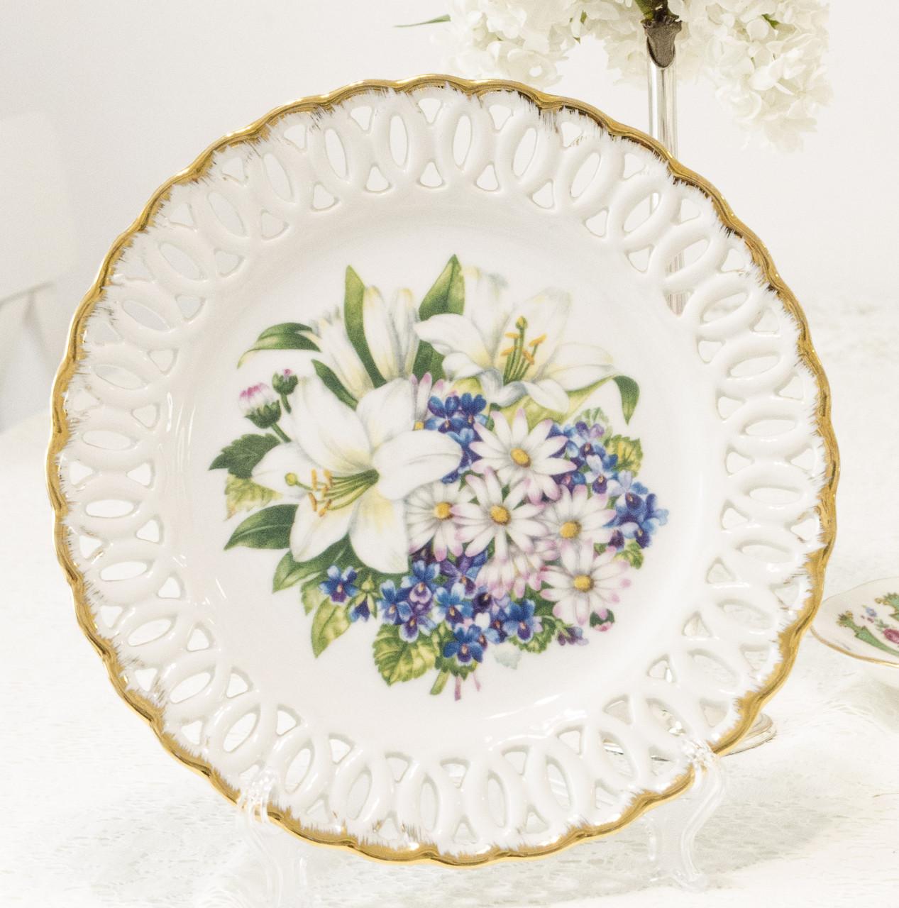 Настенная фарфоровая тарелка с цветами, фарфор, Minerva Collection, 1992 год, Англия
