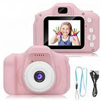 Детская фотокамера фотоаппарат X200 c 2.0″ дисплеем и с функцией видео, РОЗОВЫЙ