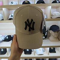 Модная мужская летняя кепка оливковая с черным лого NY (реплика)
