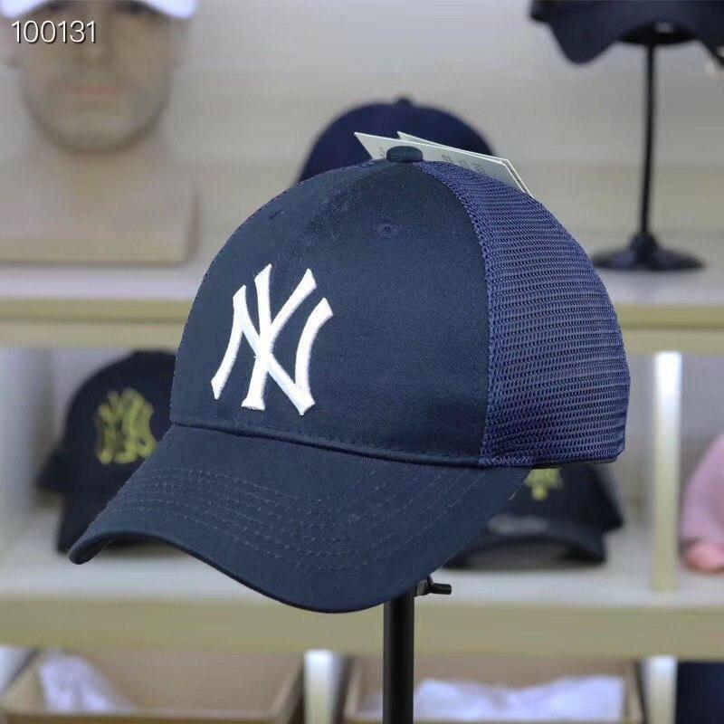 Бейсболка с сеткой молодежная темно-синяя с белым лого NY (реплика)