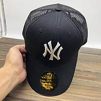 Модная мужская бейсболка с сеточкой черная с белым лого NY (реплика)