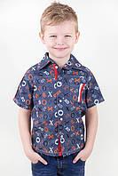 Джинсовая рубашка для мальчика с коротким рукавом