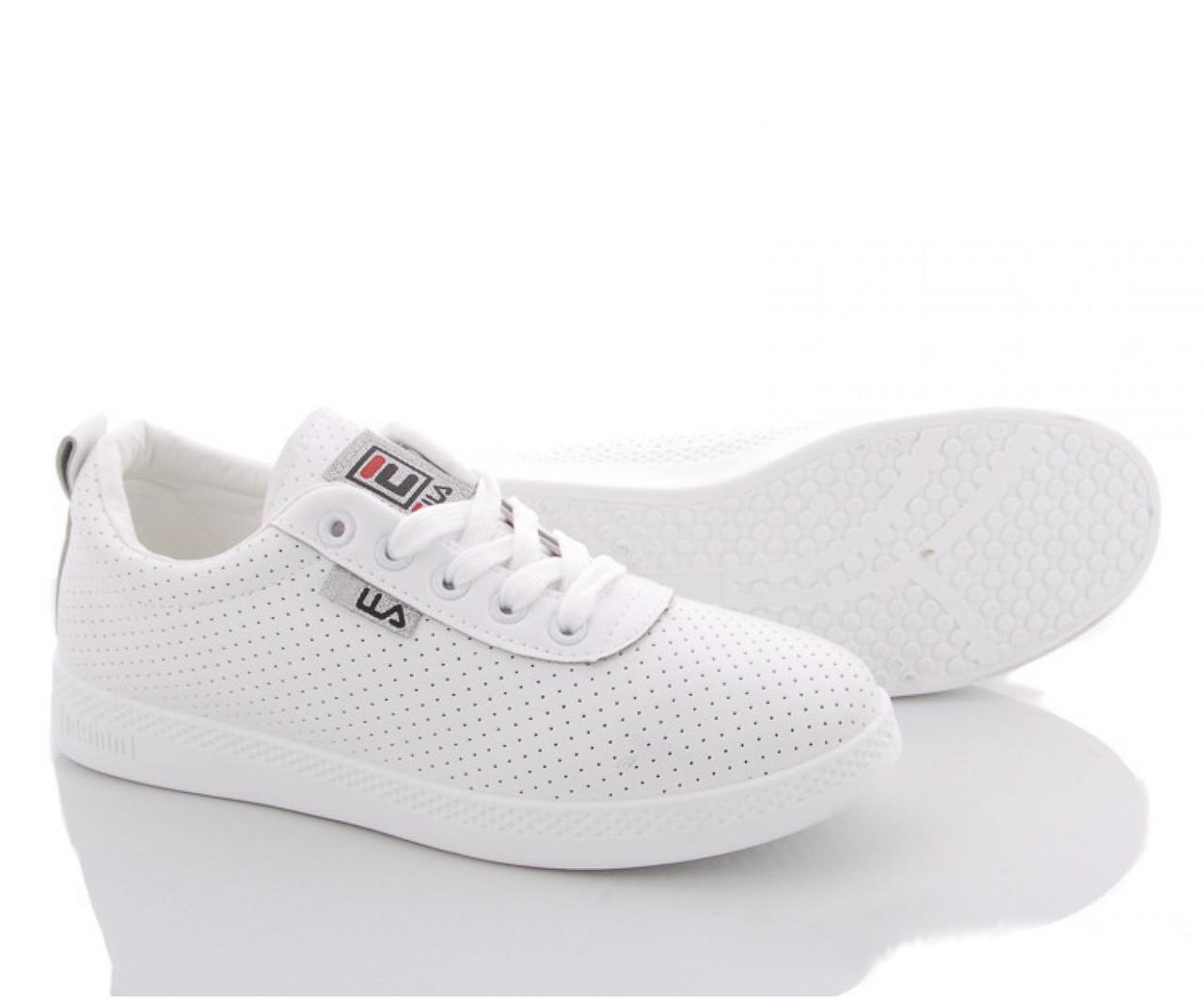 Кеды летние женские из искусственной кожи белые ILA Fashion 38 р. - 24,5 см (1174651076)