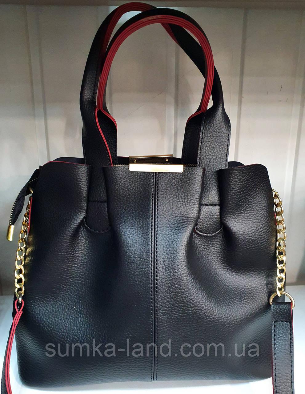 Женская черная с красным сумка на молнии с двумя дополнительными отделами 31*27 см