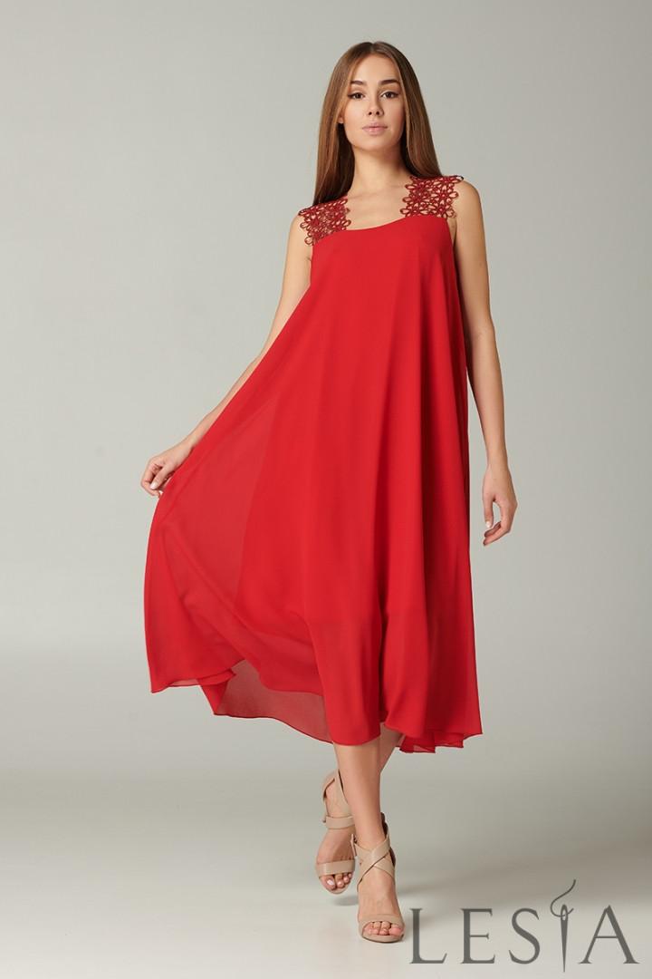 Нарядное красное шифоновое платье с кружевными бретелями Lesya Латея
