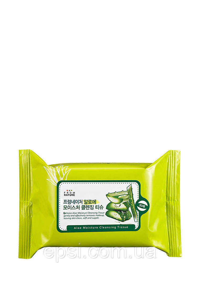 Очищающие салфетки с алоэ FromNature Aloe Moisture Cleansing Tissue, 30 шт
