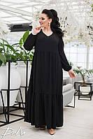 Платье женское в пол свободного кроя большие размеры /р15313.1 черное, фото 1