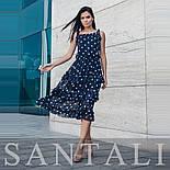 Шифоновое платье в горошек с тройной оборкой на юбке vN7785, фото 2