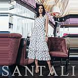 Шифоновое платье в горошек с тройной оборкой на юбке vN7785, фото 3