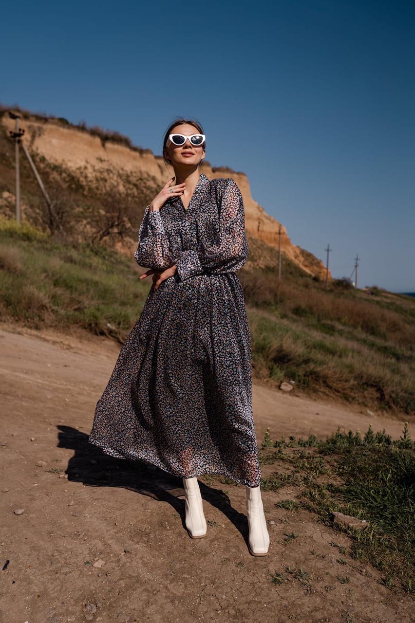 Длинное шифоновое платье с расклешенной юбкой и длинным рукавом vN7789