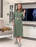 Лляне плаття - сорочка міді з рукавом 3/4 vN7792, фото 2