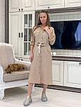 Лляне плаття - сорочка міді з рукавом 3/4 vN7792, фото 3