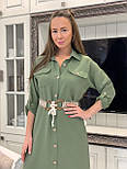 Лляне плаття - сорочка міді з рукавом 3/4 vN7792, фото 4