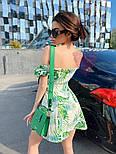 Коттоновое летнее платье с открытыми плечами и завышенной талией на шнуровке спереди vN7796, фото 2