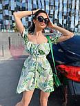 Коттоновое летнее платье с открытыми плечами и завышенной талией на шнуровке спереди vN7796, фото 3