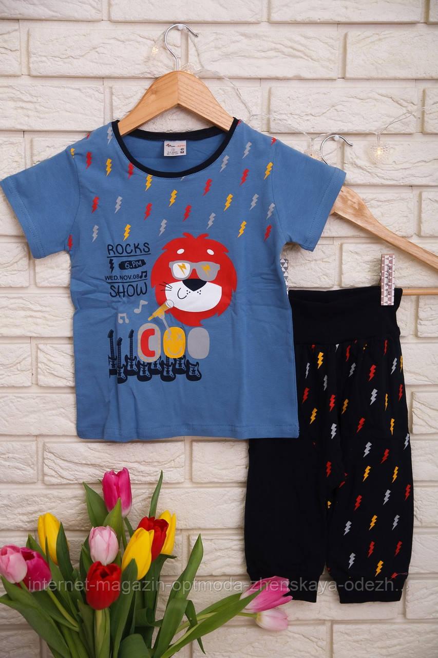 Модный комплект c шортиками капри для мальчика с милый принтом. Повседневная детская одежда